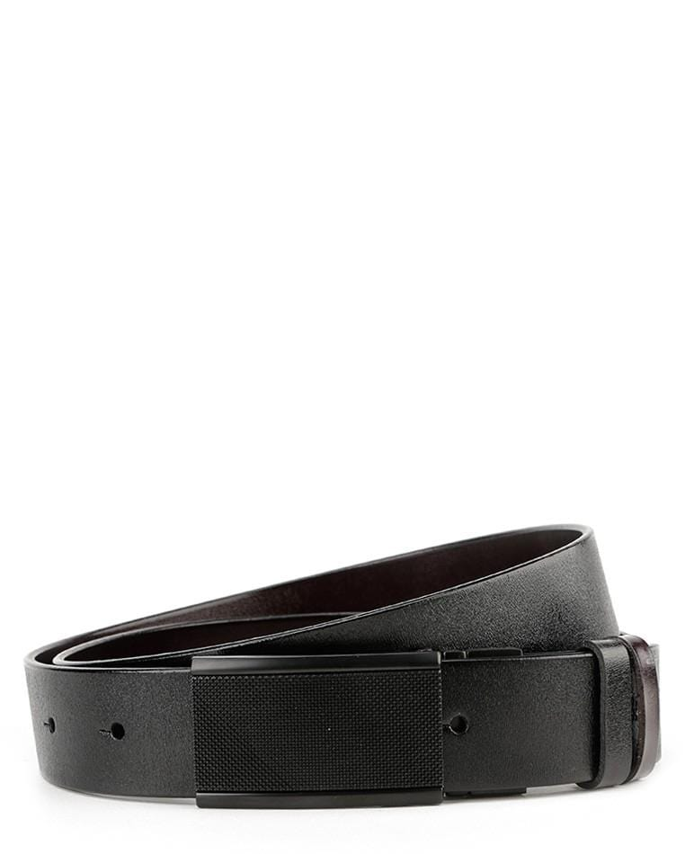 Reversible Trellis Plate Buckle Top Grain Leather Belt - Black Belts - Urban State Indonesia