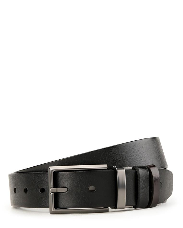 Reversible Square Edge Pin Buckle Top Grain Leather Belt - Silver