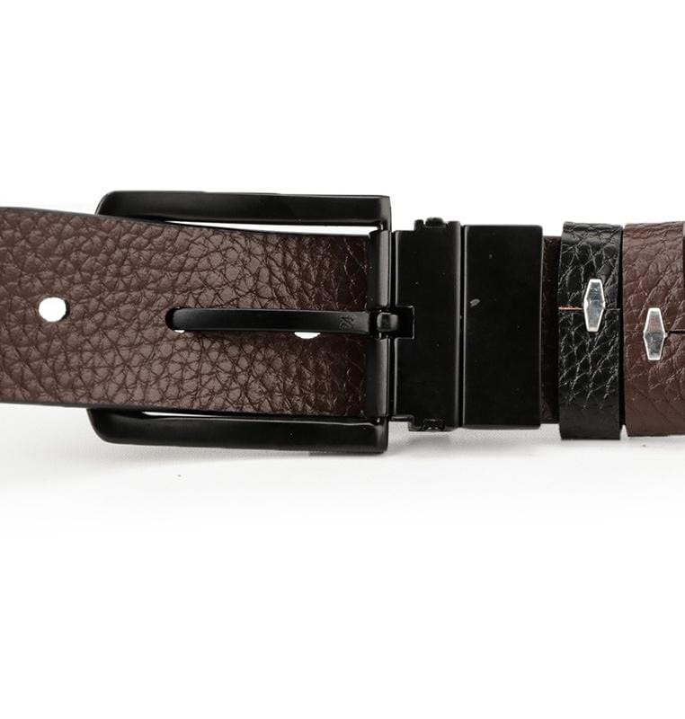 Reversible Rounded Pin Buckle Top Grain Leather Belt - Black