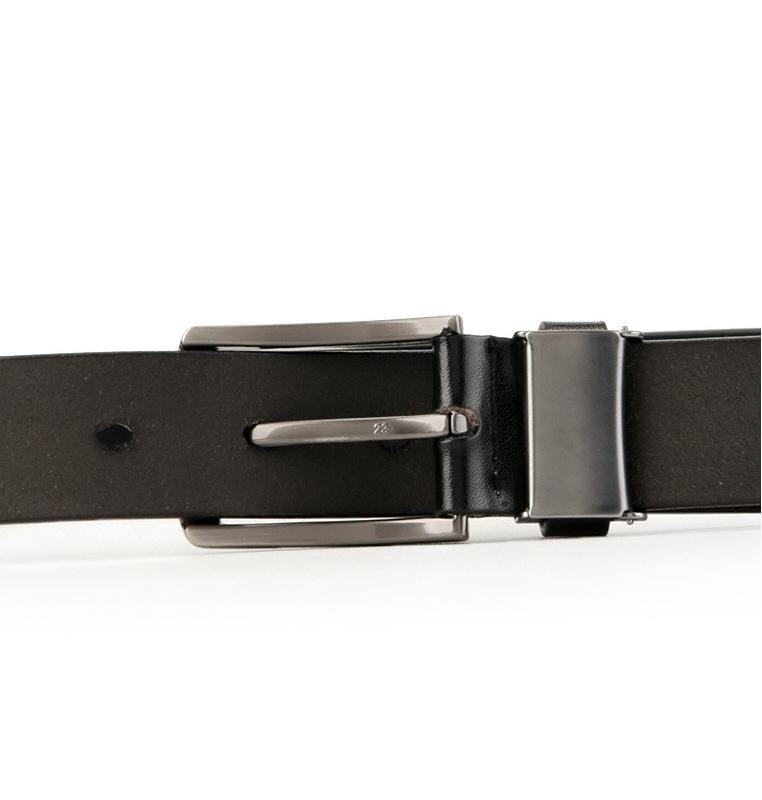 Rounded Frame Pin Buckle Top Grain Leather Belt - Black Belts - Urban State Indonesia