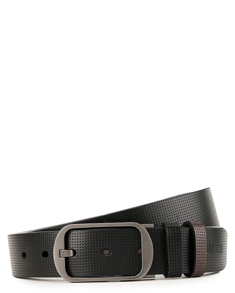 Reversible Perforated Frame Pin Buckle Top Grain Leather Belt - Silver Belts - Urban State Indonesia