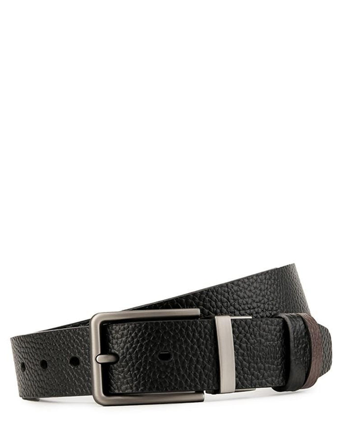 Reversible Slim Frame Pin Buckle Top Grain Leather Belt - Silver Belts - Urban State Indonesia