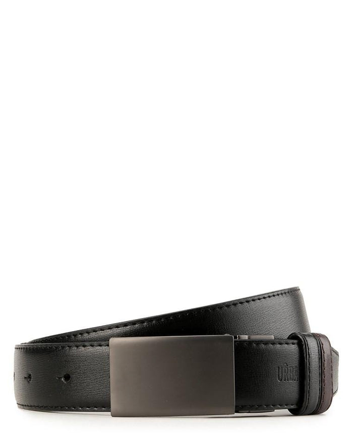 Reversible Matte Gunmetal Plate Buckle Top Grain Leather Belt - Silver Belts - Urban State Indonesia