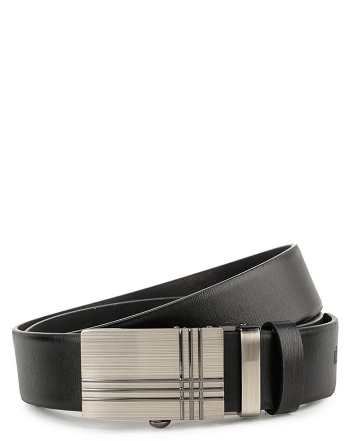 Tartan Plate Buckle Top Grain Leather Belt - Black Belts - Urban State Indonesia