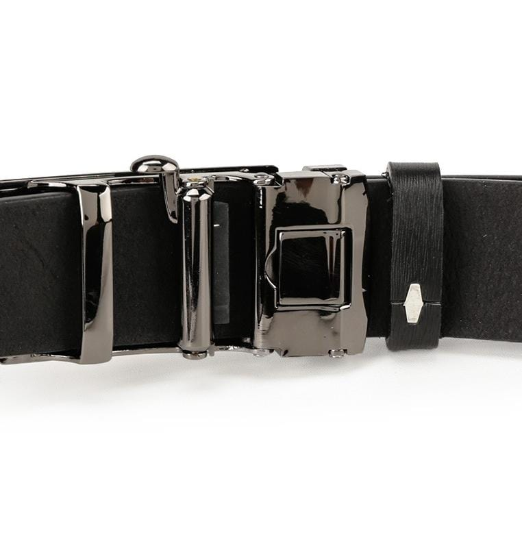 Panel Plate Buckle Top Grain Leather Belt - Black Belts - Urban State Indonesia