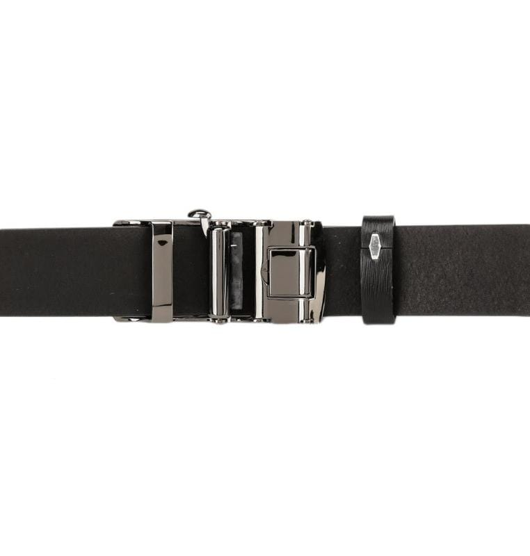 Tri-Striped Plate Buckle Top Grain Leather Belt - Black Belts - Urban State Indonesia