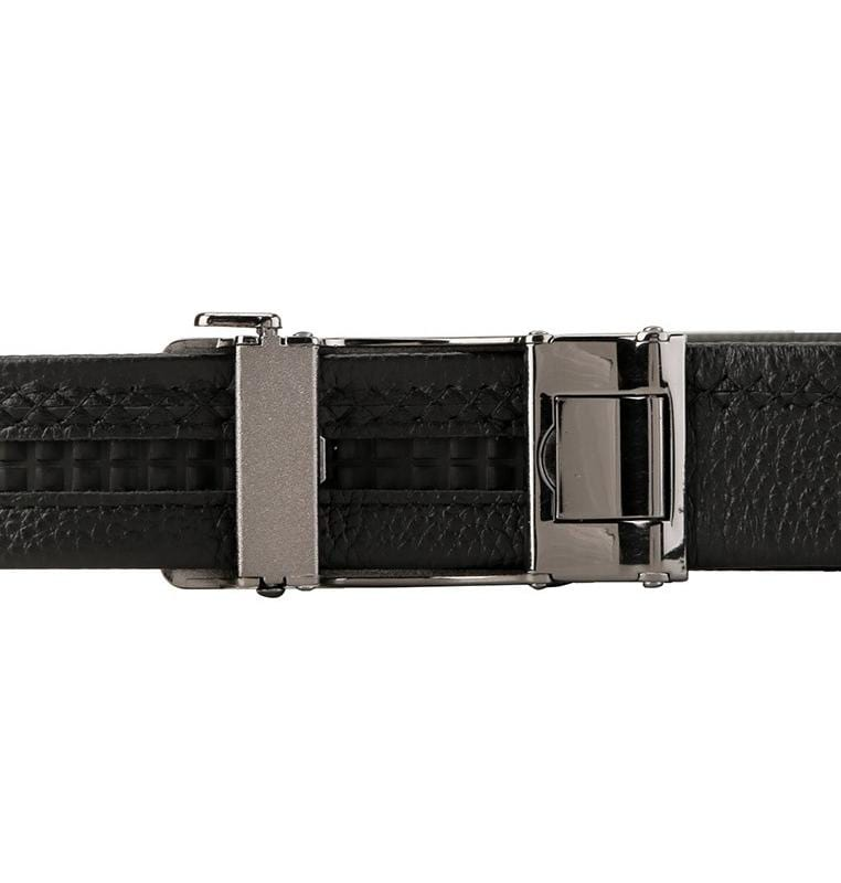Rectangular Plate Buckle Full Grain Leather Belt - Black Belts - Urban State Indonesia