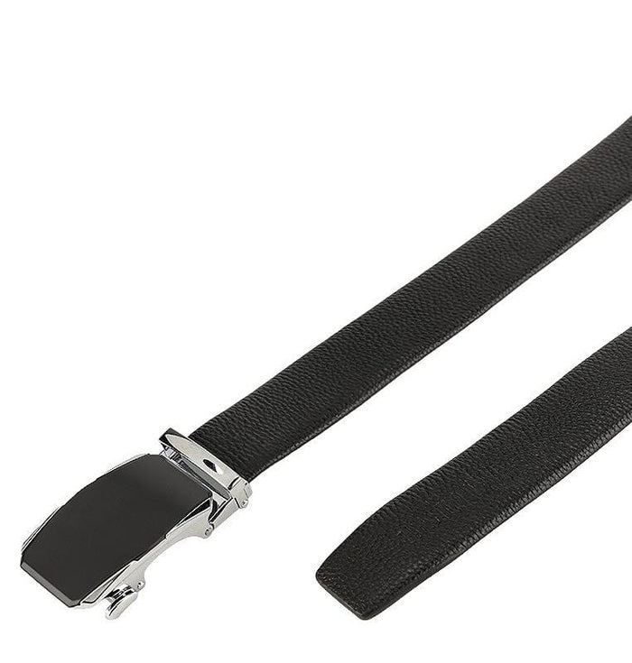 Tilted Edge Plate Buckle Full Grain Leather Belt - Black Belts - Urban State Indonesia