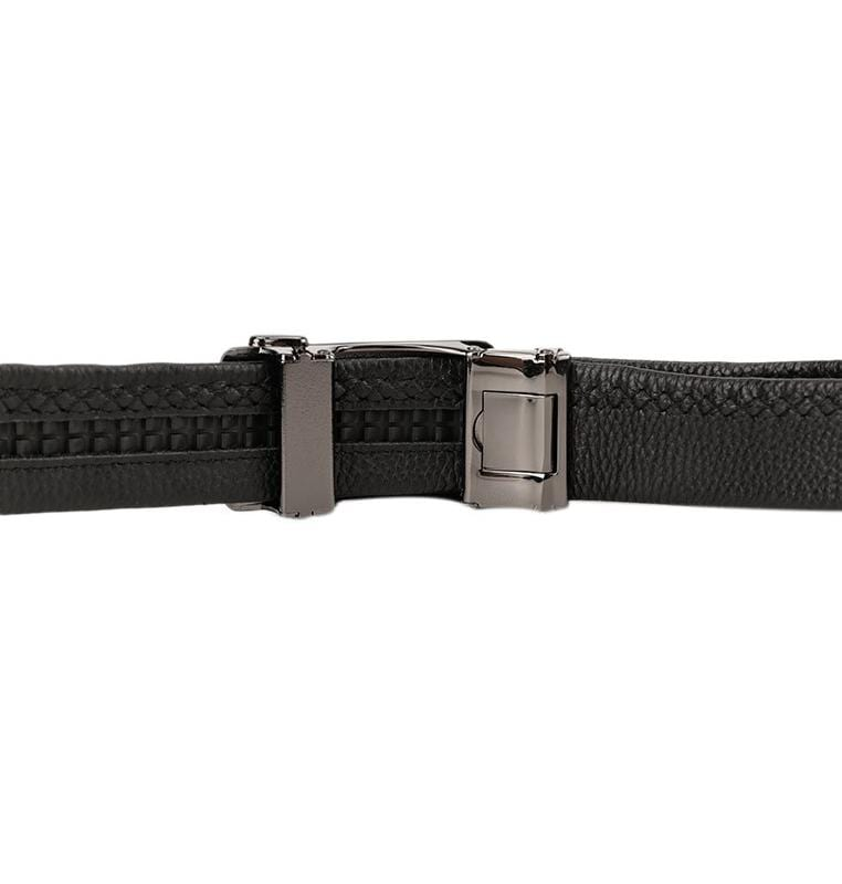 Striped Plate Buckle Full Grain Leather Belt - Black Belts - Urban State Indonesia