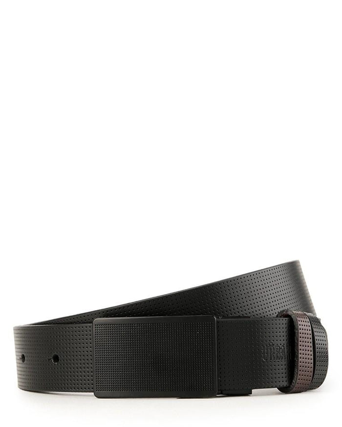 Reversible Perforated Gingham Plate Buckle Top Grain Leather Belt - Black Belts - Urban State Indonesia