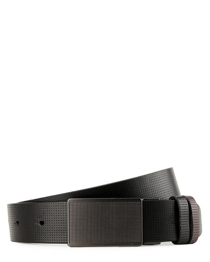 Reversible Perforated Gingham Plate Buckle Top Grain Leather Belt - Silver Belts - Urban State Indonesia