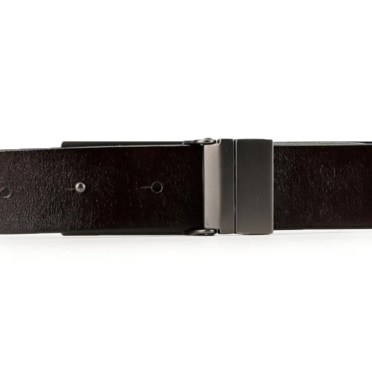 Reversible Lined Plate Buckle Top Grain Leather Belt - Silver Belts - Urban State Indonesia