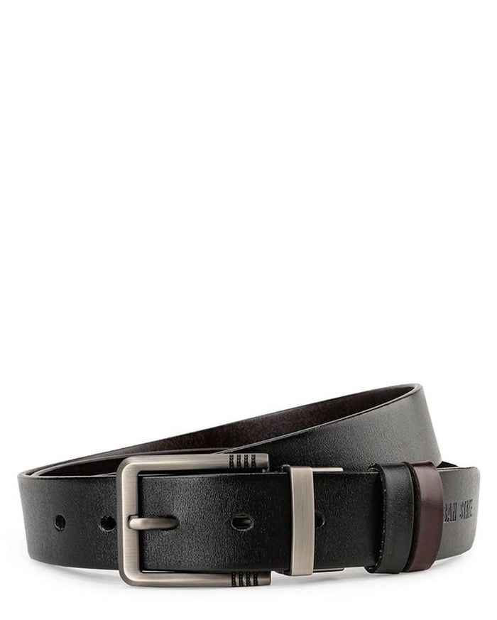Reversible Striped Edge Pin Buckle Top Grain Leather Belt - Silver Belts - Urban State Indonesia