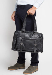 Distressed Leather Nomad Weekender - Black Duffel Bags - Urban State Indonesia