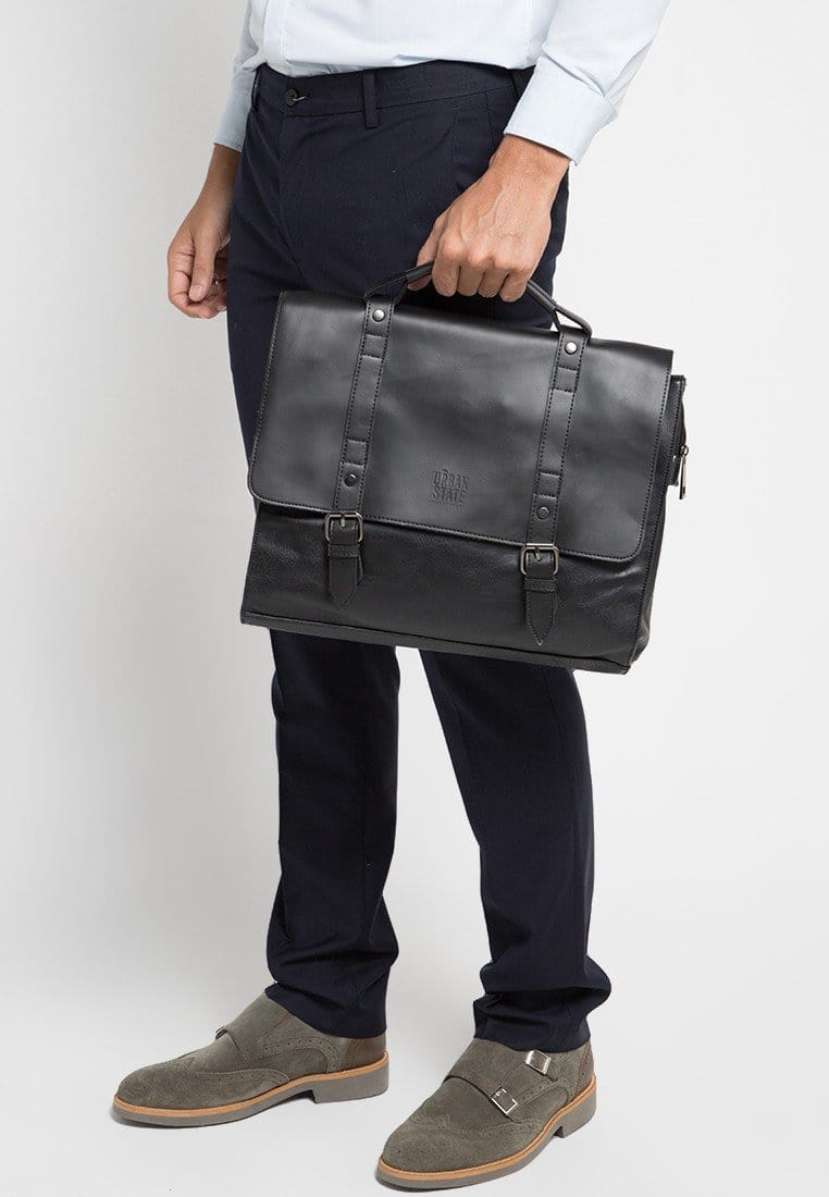 Distressed Leather Compact Office Bag - Black Messenger Bags - Urban State Indonesia
