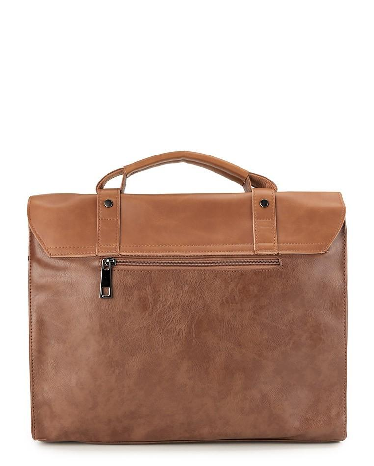 Distressed Leather Compact Office Bag - Camel Messenger Bags - Urban State Indonesia