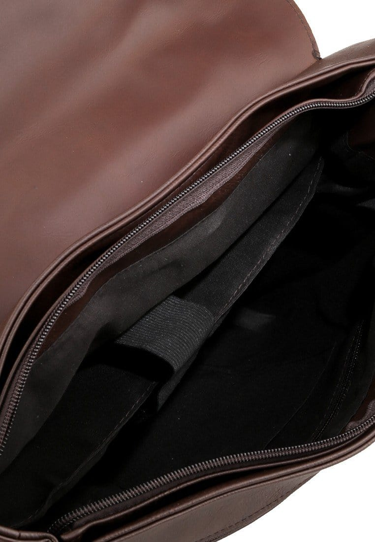 Distressed Leather Compact Office Bag - Dark Brown Messenger Bags - Urban State Indonesia