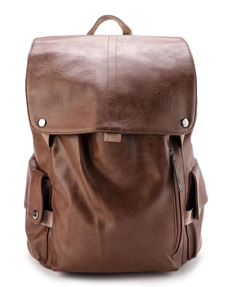 Pu Pocket Flap Large Backpack - Camel