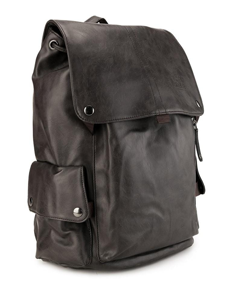 Pu Pocket Flap Large Backpack - Brown
