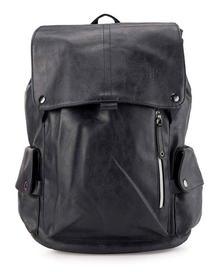 Pu Pocket Flap Large Backpack - Navy