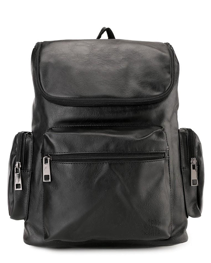 PU Zip Flap Large Backpack - Black