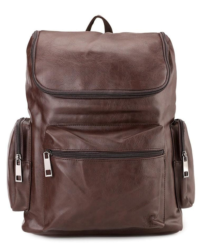 PU Zip Flap Large Backpack - Dark Brown Backpacks - Urban State Indonesia