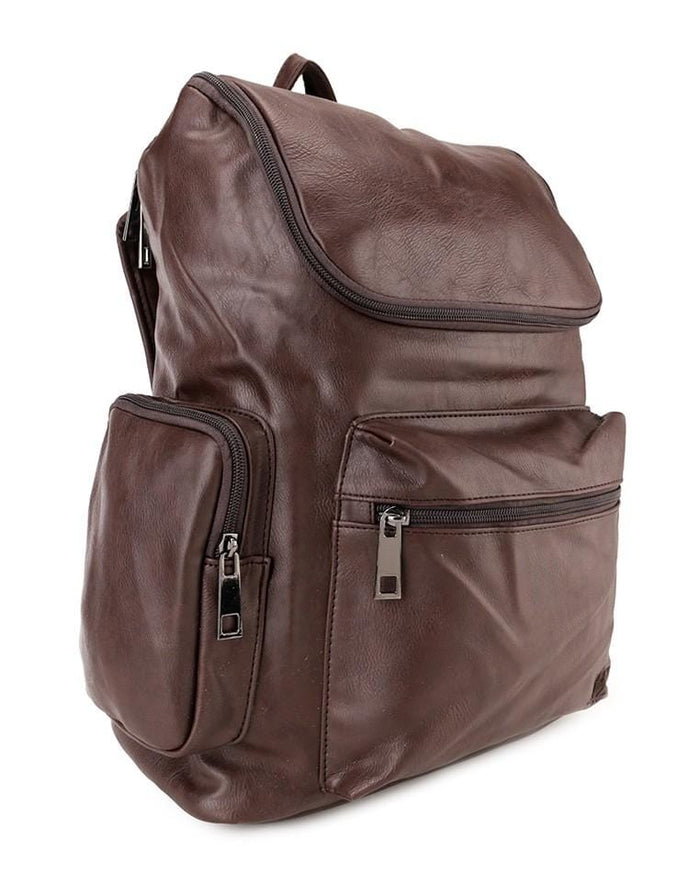 PU Zip Flap Large Backpack - Dark Brown