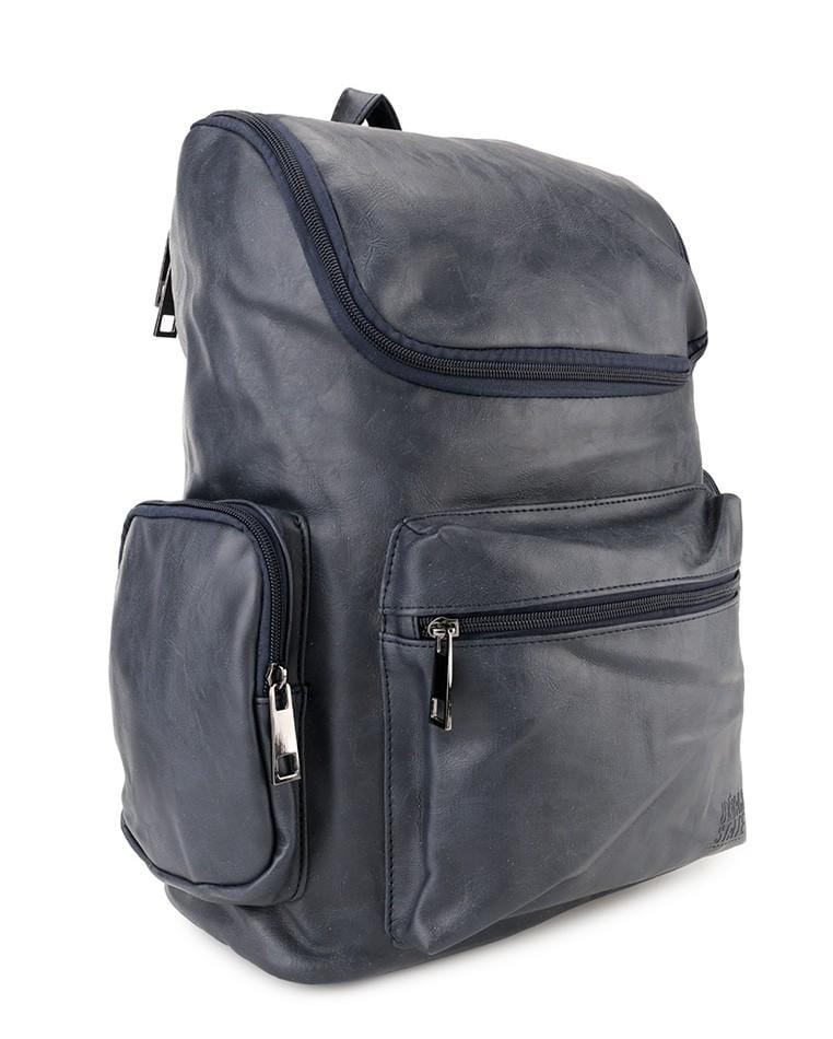 PU Zip Flap Large Backpack - Navy