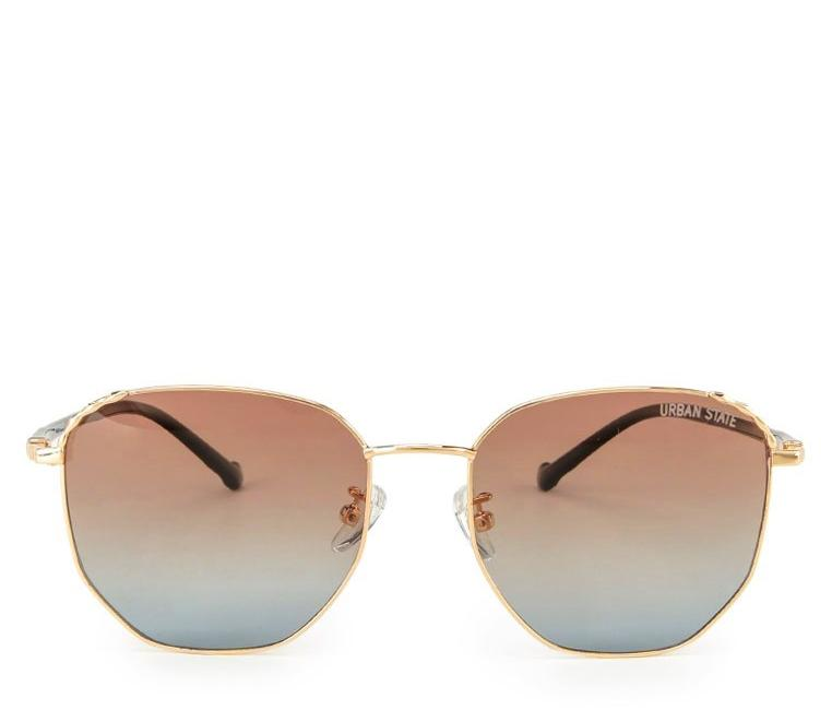 Polarized Retro Metal Frame Sunglasses - Brown Gold