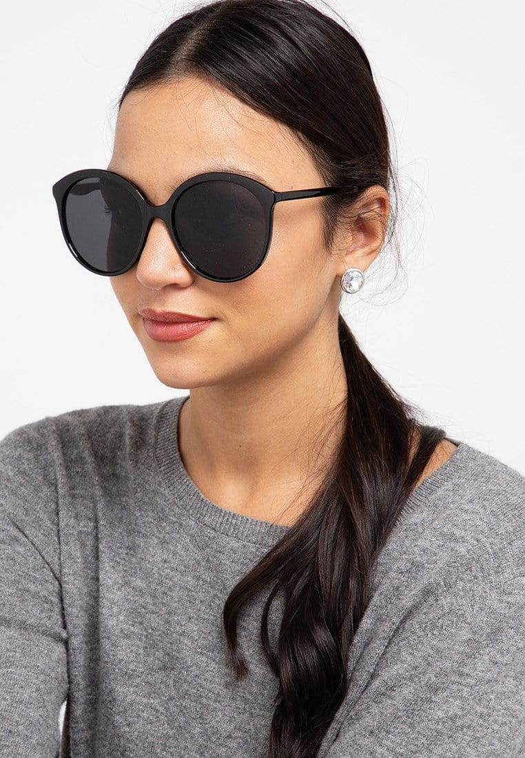 Oversized Plastic Retro Sunglasses - Black Black