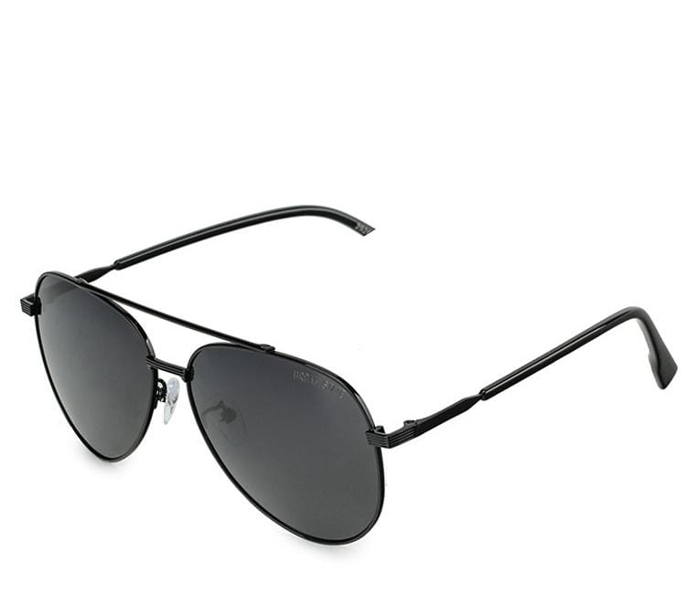 Polarized Oval Aviator Sunglasses - Black Silver