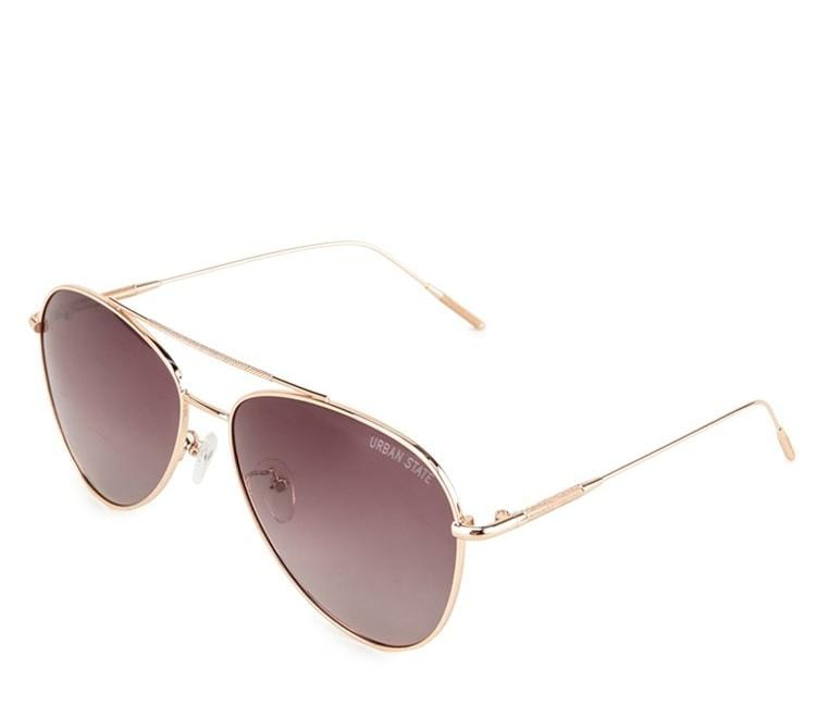 Polarized Slim Oval Aviator Sunglasses - Brown Rosegold