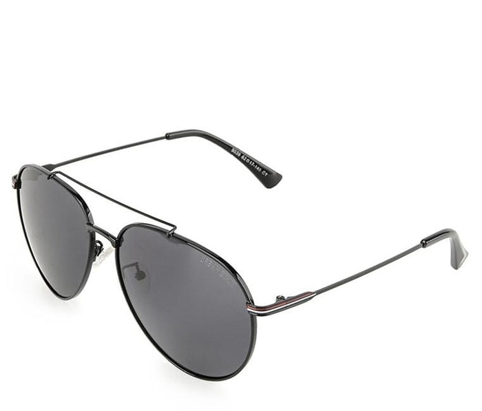 Polarized Curved Oval Aviator Sunglasses - Black Black