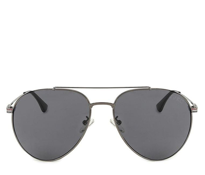 Polarized Curved Oval Aviator Sunglasses - Black Silver