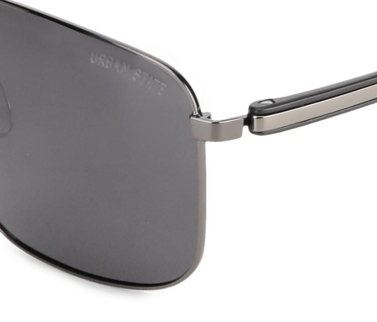 Polarized Oversized Rectangular Sunglasses - Black Silver