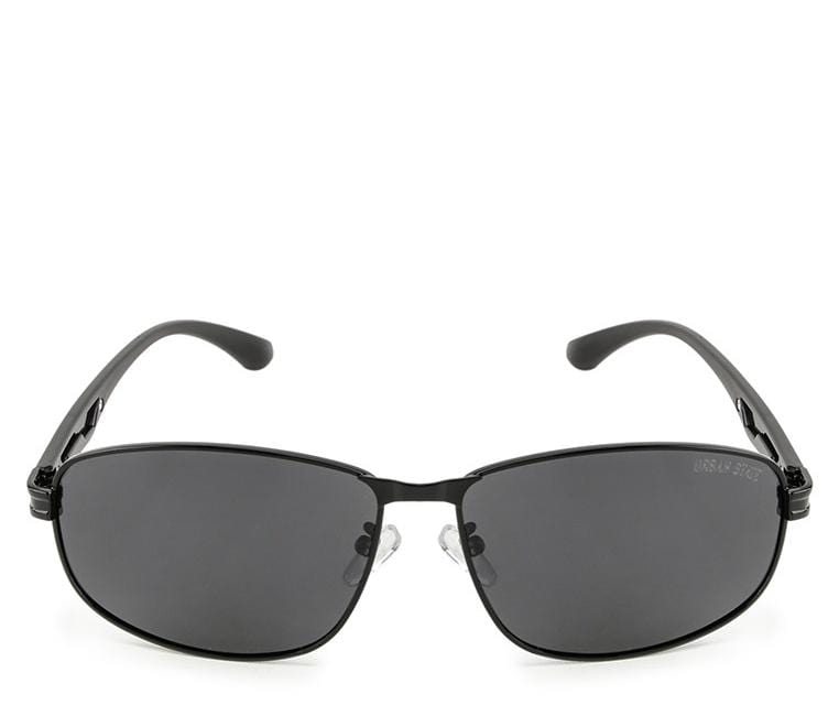 Polarized Rectangular Curved Sunglasses  - Black Black Sunglasses - Urban State Indonesia