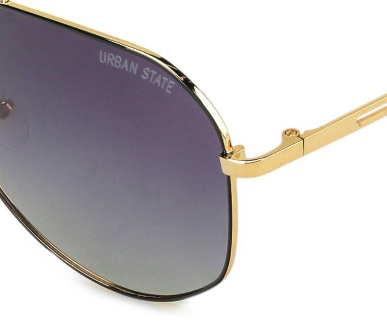 Polarized Wide Aviator Sunglasses - Black Gold