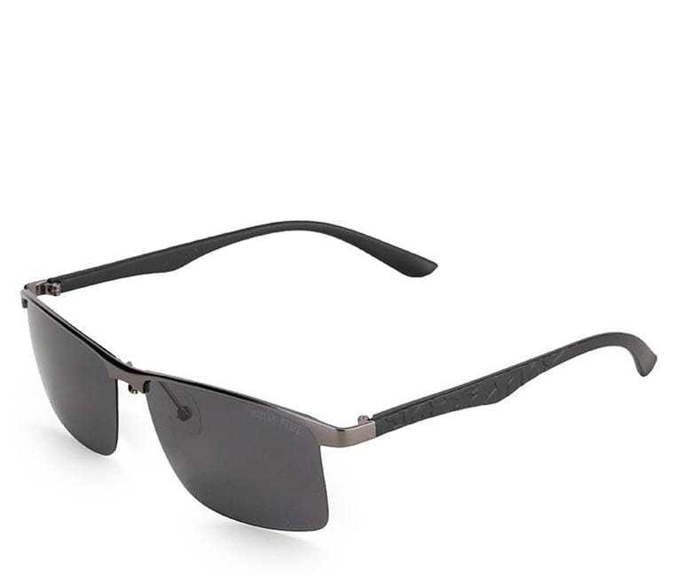 Polarized Rimless Curved Sunglasses - Black Silver Sunglasses - Urban State Indonesia