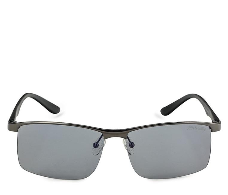 Polarized Rimless Curved Sunglasses - Blue Silver