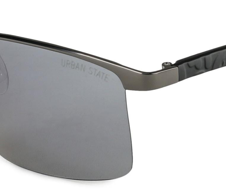 Polarized Rimless Curved Sunglasses - Blue Silver Sunglasses - Urban State Indonesia