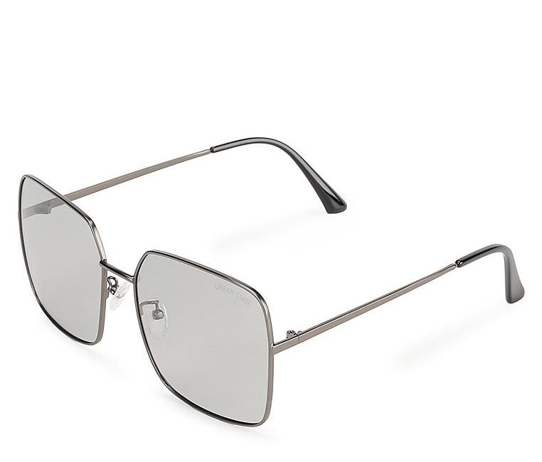 Polarized Retro Square Sunglasses - Grey Silver