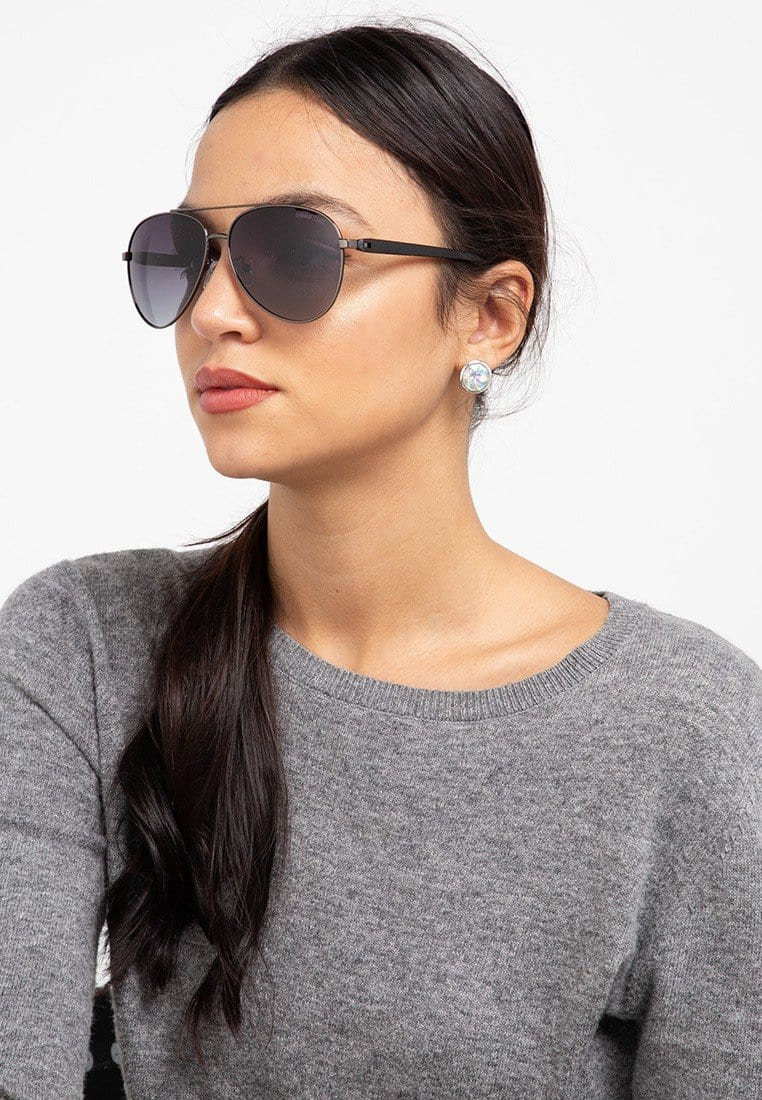 Polarized Raider Aviator Sunglasses - Black Silver