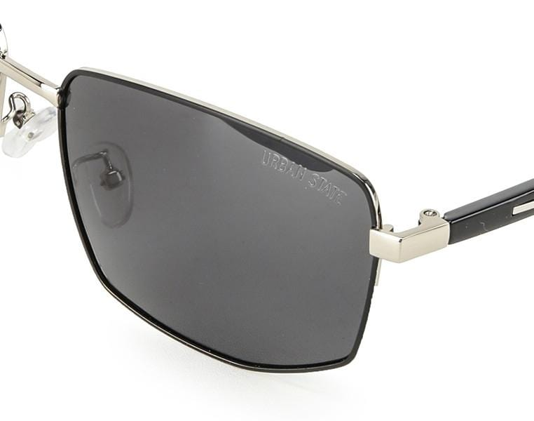 Polarized Modern Slim Rectangular Sunglasses - Black Silver