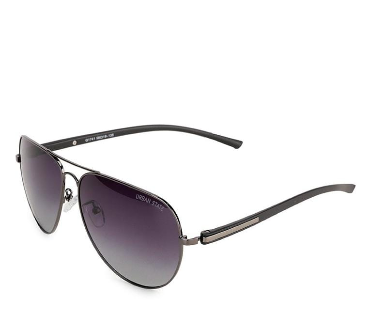 Polarized Modern Slim Aviator Sunglasses - Black Silver