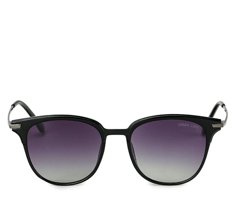 Polarized Vintage Square Sunglasses - Black Glossy