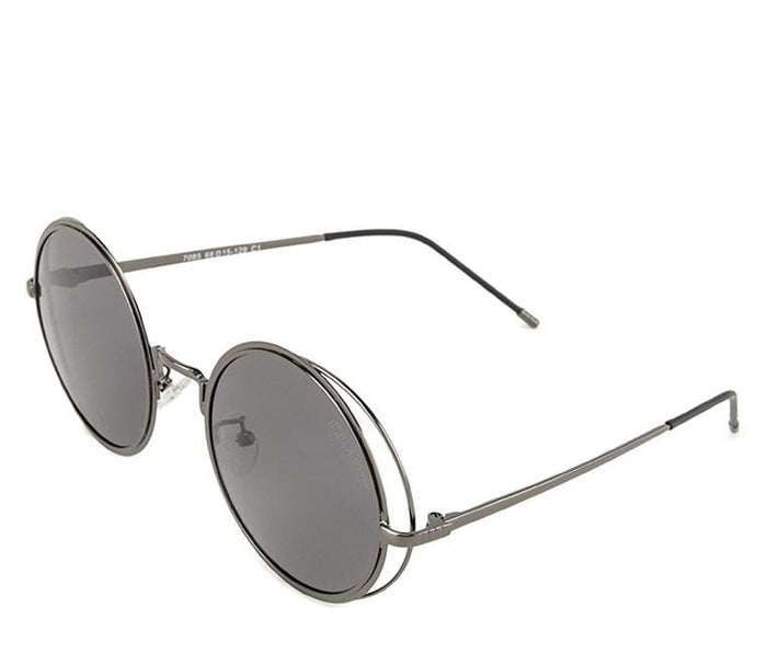 Polarized Metal Framed Round Sunglasses - Black Silver