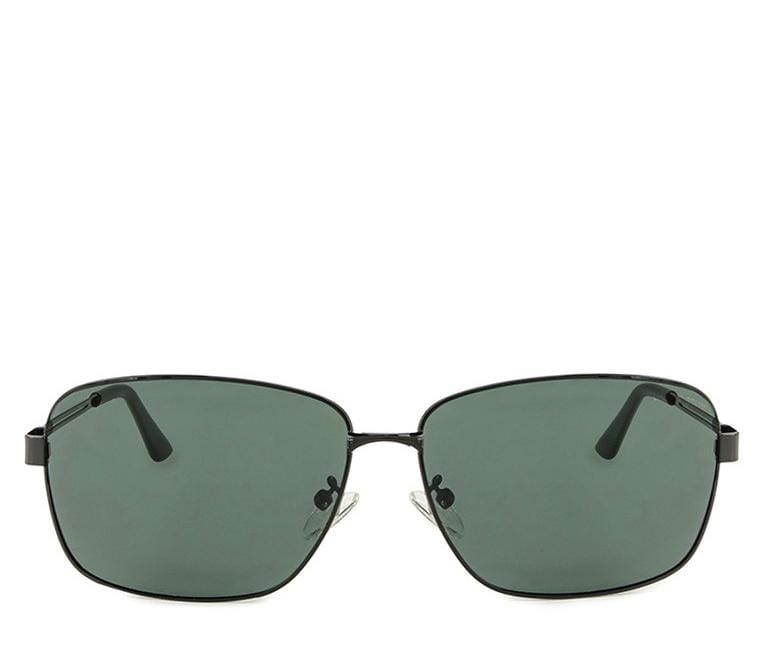 Polarized Rectangular Curved Sunglasses  - Green Black