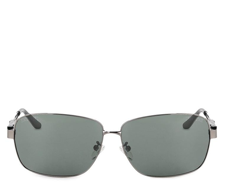 Polarized Rectangular Curved Sunglasses  - Green Silver