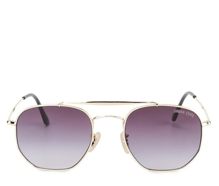 Edge Round Aviator Sunglasses - Black Gold Sunglasses - Urban State Indonesia