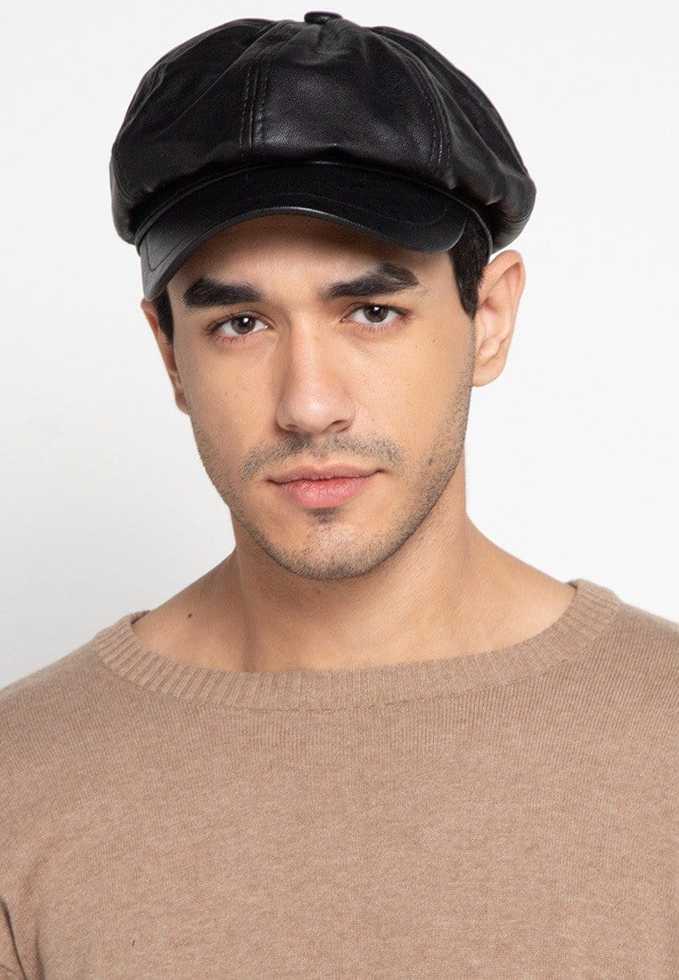 PU Newsboy Cap - Black